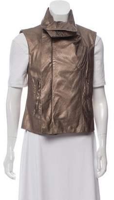 Rick Owens Zip-Up Leather Vest Gold Zip-Up Leather Vest