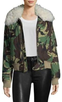 Rag & Bone Shearling-Trimmed Camo Flight Jacket