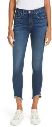 Rag & Bone High Waist Fray Crop Skinny Jeans