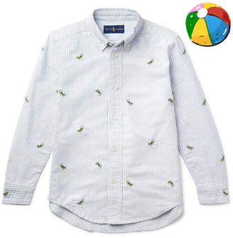 Polo Ralph Lauren Boys Ages 2 - 6 Embroidered Striped Cotton Oxford Shirt - Blue