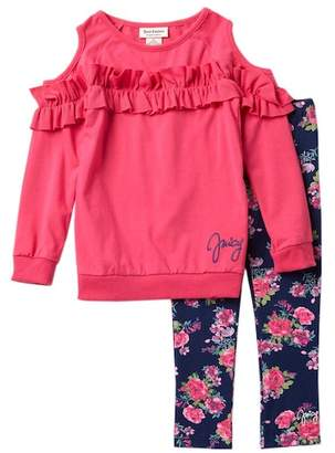 Juicy Couture Cold Shoulder Ruffle Tunic & Floral Leggings Set (Little Girls)