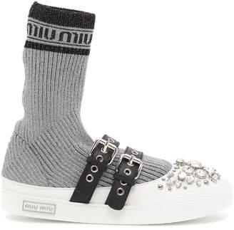 Miu Miu Lurex Knit Hi-top Sneakers