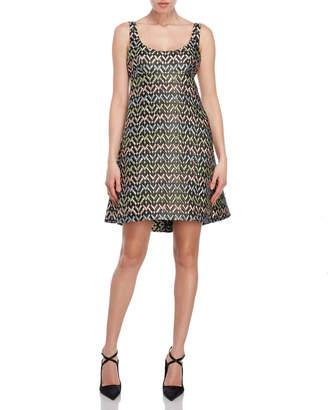 Milly Chevron Brocade Babydoll Dress