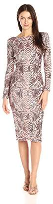 Dress the Population Women's Emery Long Sleeve Stretch Sequin Midi Sheath