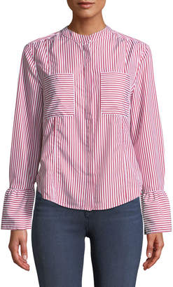 Velvet Heart Striped Bell-Cuff Button-Front Blouse