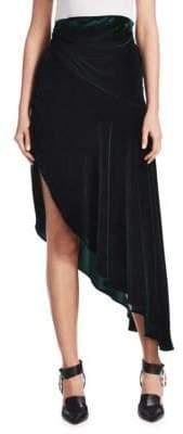 Monse Asymmetrical Velvet Midi Skirt