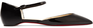 Christian Louboutin - Riverina Patent-leather Point-toe Flats - Black $645 thestylecure.com
