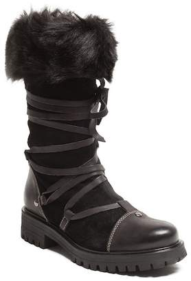Manas Design Faux Fur Strappy Boot