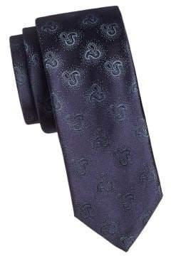HUGO Medallion Embroidered Silk Tie