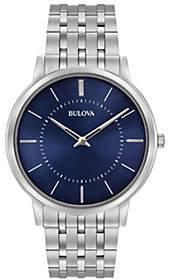 Bulova Men's Stainless Steel Blue Ultra-Slim Bracelet Watch