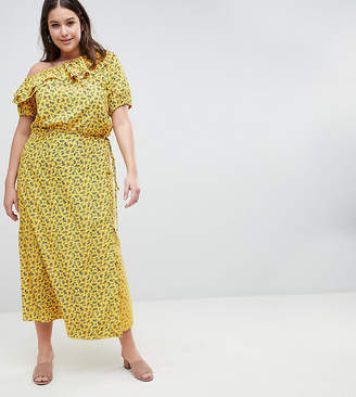 Fashion Union Plus Wrap Maxi Skirt In Grunge Floral Co-Ord