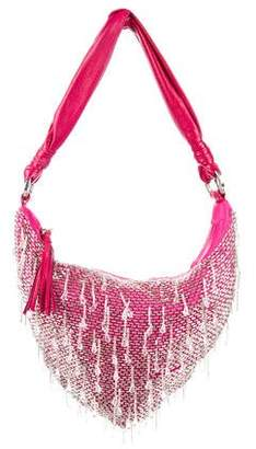 Cesare Paciotti Beaded Satin Shoulder Bag