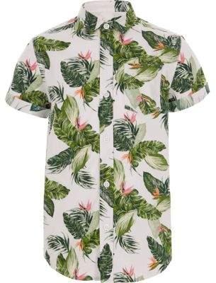 River Island Boys ecru leaf print shirt