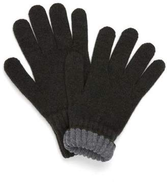 Drakes Drake's OLIVE SOLID WOOL TIPPED GLOVES