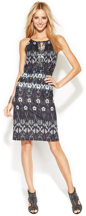 INC International Concepts Embellished Printed Halter Dress