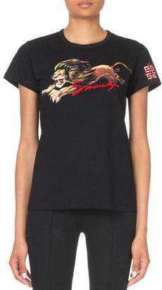 Givenchy Short-Sleeve Fitted Leo Lion Graphic Tee