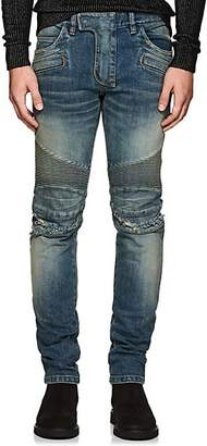 4e6b6465d6b816 Balmain Men's Distressed Slim Biker Jeans - Blue