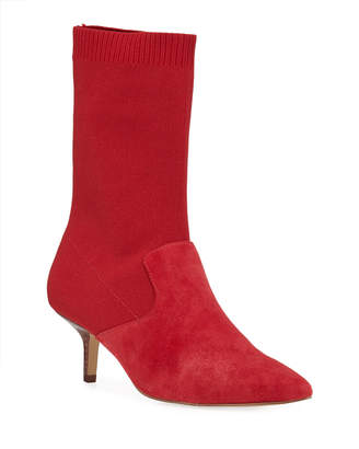Halston Annalise Stretch-Suede Sock Booties