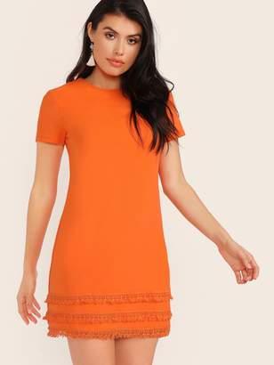 Shein Neon Orange Tassel Hem Dress