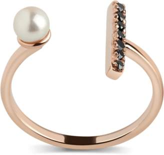 Aurate Open Pearl Ring with Black Diamonds