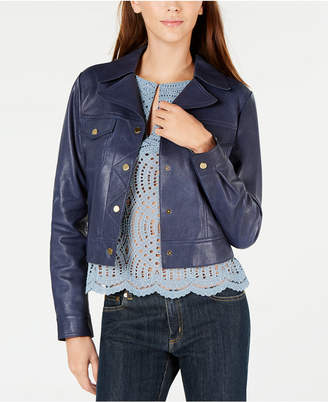 Michael Kors Leather Trucker Jacket