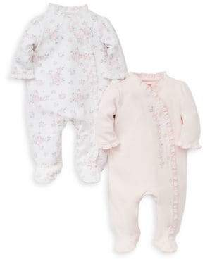 Little Me Baby Girl's Set of Two Rose Cotton Footies