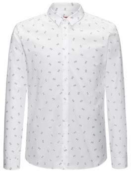 HUGO Boss Printed Cotton Sport Shirt, Extra Slim Fit Ero L Open White