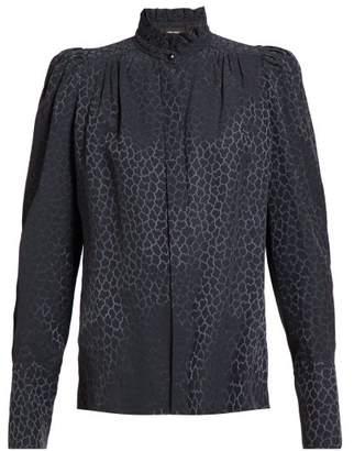 Isabel Marant Lamia Pattern Jacquard Silk Blend Blouse - Womens - Dark Grey