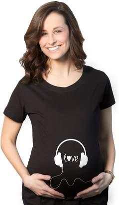 Crazy Dog T-shirts Crazy Dog Tshirts Women's Headphones Love Maternity T Shirt Funny Music Pregnancy Tee S