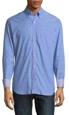 Tailorbyrd Patterned Cuffs Cotton Button-Down Shirt
