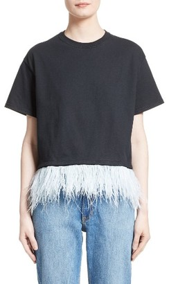 Women's Opening Ceremony Feather Trim Crop Tee $125 thestylecure.com