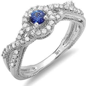 Glamorous JeenJewels Sapphire and Diamond Halo Cheap Engagement Ring 0.50 Carat Diamond on 14k White Gold