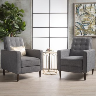 Noble House Marrin Mid Century Modern Grey Fabric Recliner (Set of 2)
