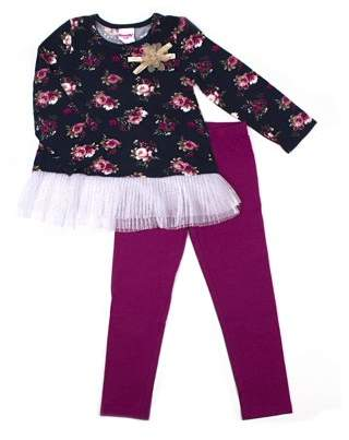 Nannette Printed Jersey Tulle Hem Top and Legging, 2-Piece Outfit Set (Little Girls)