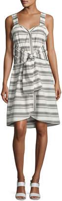 Derek Lam 10 Crosby Sleeveless Striped Tie-Front Poplin Dress White