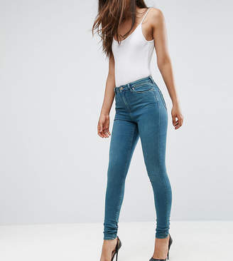 Asos Tall TALL RIDLEY High Waist Skinny Jeans in Fleur Light Green Cast