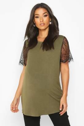 boohoo Maternity Lace Sleeve T-Shirt