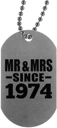 Designsify Anniversary Dog Tag, Mr & Mrs Since 1974 - Military Dog Tag, Aluminum ID Tag Necklace, Best Gift for Wedding, Dating, Engagement by Husband, Wife, Boyfriend, Girlfriend