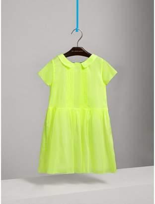 Burberry Pintuck Detail Cotton Voile Dress