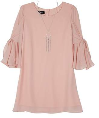 Amy Byer 3/4 Tie Sleeve Shift Dress with Necklace (Big Girls)