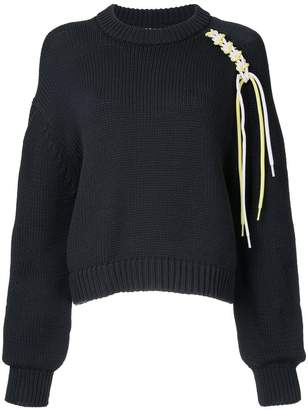 Tibi lace-up cropped jumper