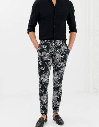 Twisted Tailor skinny fit PANTS in monochrome floral print