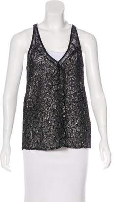 Reformation Metallic Lace Top