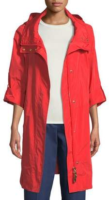Escada Zip-Front Roll-Sleeve Anorak Jacket w/ Removable Hood