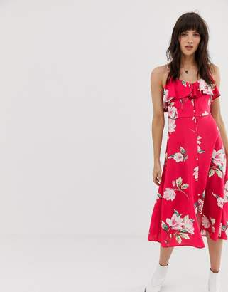 f75cd7780ace Band of Gypsies ruffle front button down midi dress in pink floral print