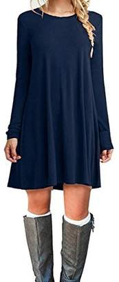 Bluetime Women's Plus Size Long Sleeve Casual Loose Tunic Dress with Pockets (XL, Navy )