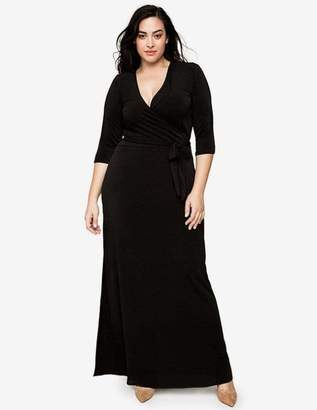 Leota Perfect Wrap Maxi Dress in Black Crepe Size 1L Polyester
