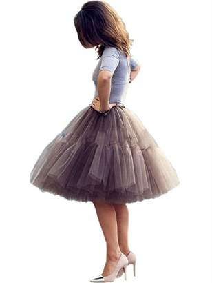 Imixshop Women's 6 Layers Midi Mesh Tutu Tulle Skirts Petticoat Prom Party Dress (, Coffee)