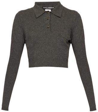 Dolce & Gabbana Cropped Cashmere Polo Shirt - Womens - Dark Grey