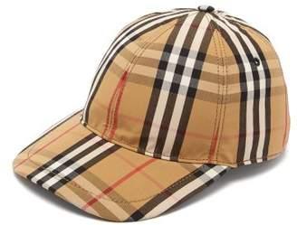 Burberry Vintage Check Cotton Baseball Cap - Mens - Beige Multi